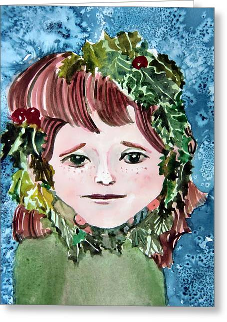 Winter Prints Drawings Greeting Cards - Mollys Holly Greeting Card by Mindy Newman