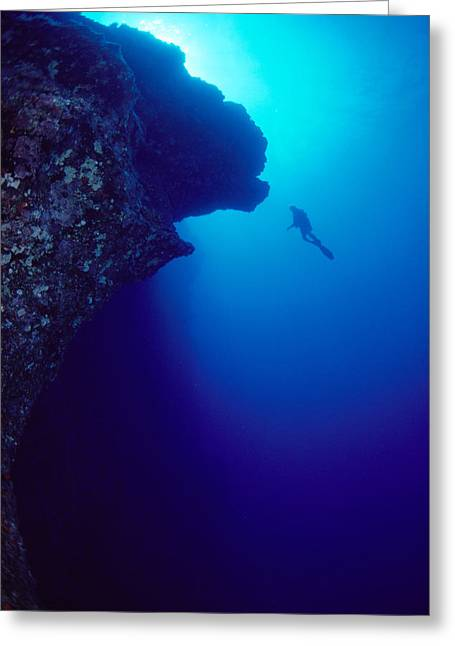 Snorkeling Photos Greeting Cards - Molokini, Diver In Distance Greeting Card by Dave Fleetham - Printscapes