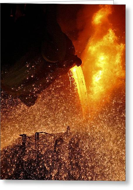 Molten Metal Being Poured From A Vat Greeting Card by Ria Novosti