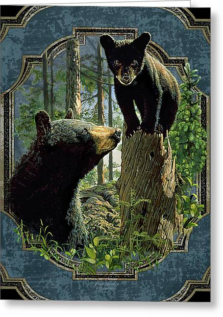 Cabin Greeting Cards - Mom and Cub Bear Greeting Card by JQ Licensing