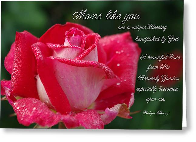 Photographs With Red. Greeting Cards - Mom Handpicked by God Greeting Card by Robyn Stacey