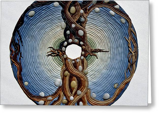 Spiritual Art Reliefs Greeting Cards - Momentary Node of Connection - Tears of Stone Greeting Card by Arla Patch