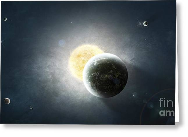 Terrestrial Sphere Greeting Cards - Moments Before A Total Eclipse Greeting Card by Tomasz Dabrowski