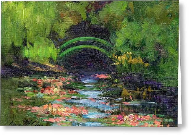 Garden Scene Greeting Cards - Momets Water Lily Garden Toward Evening Greeting Card by Diane McClary