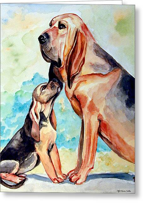 Puppies Paintings Greeting Cards - Moms Day - Bloodhound Greeting Card by Lyn Cook