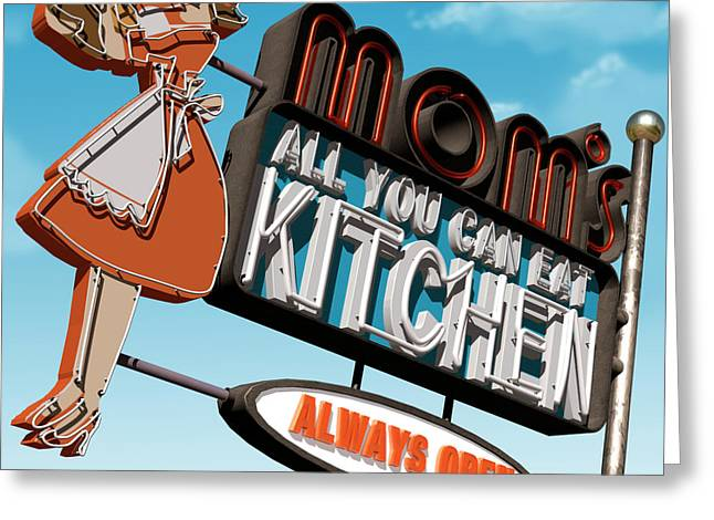 Neon Greeting Cards - Moms Diner Greeting Card by Anthony Ross