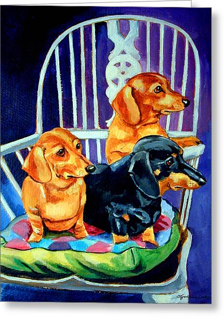 Puppies Paintings Greeting Cards - Moms in the Kitchen - Dachshund Greeting Card by Lyn Cook