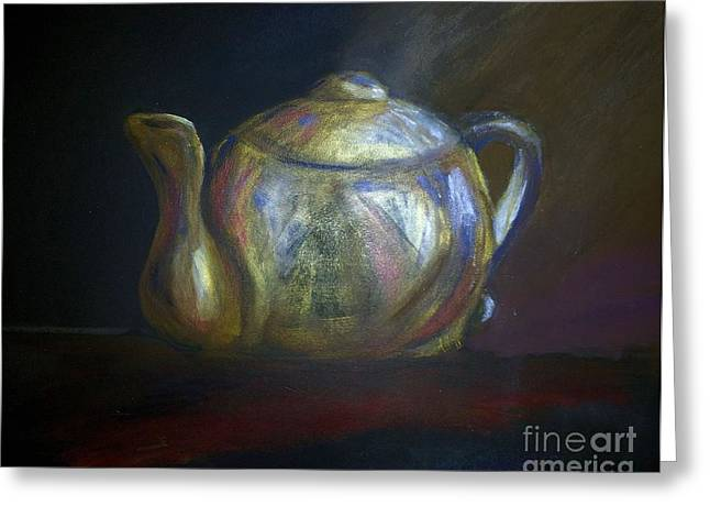 Golden Brown Pastels Greeting Cards - Moms Teapot - Alice Greeting Card by AE Hansen