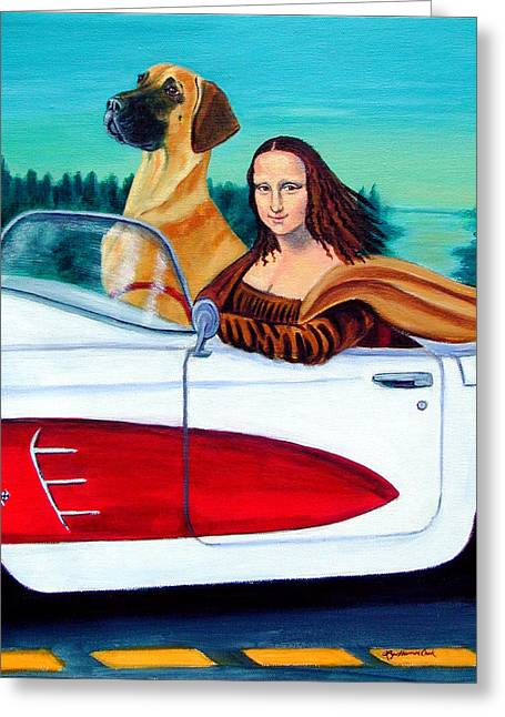 Great Paintings Greeting Cards - Mona Likes to Cut Loose  Greeting Card by Lyn Cook