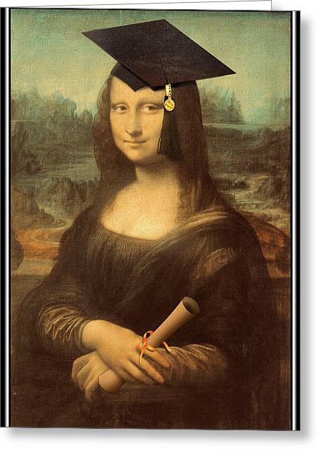 Davinci Greeting Cards - Mona Lisa  Graduation Day Greeting Card by Gravityx Designs