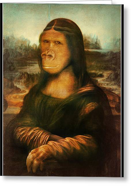 Primates Greeting Cards - Mona Rilla Greeting Card by Gravityx Designs