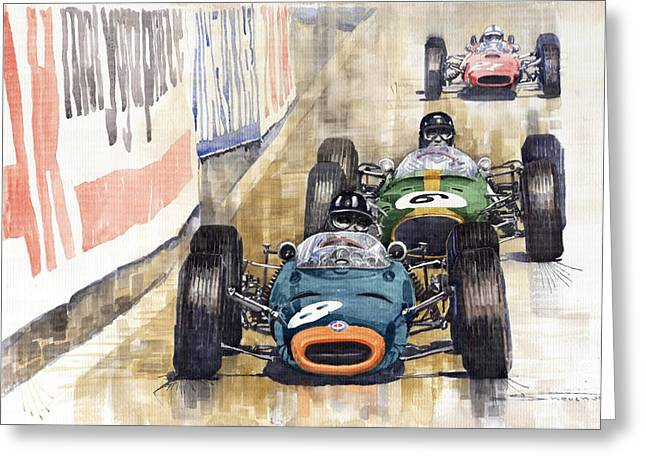 Racing Car Greeting Cards - Monaco GP 1964 BRM Brabham Ferrari Greeting Card by Yuriy  Shevchuk
