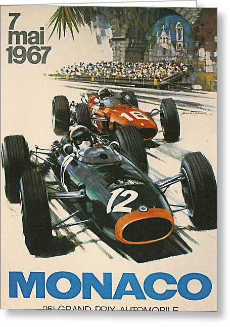 Street Race Greeting Cards - Monaco Grand Prix 1967 Greeting Card by Nomad Art And  Design