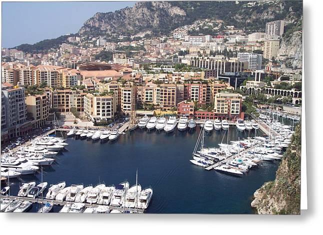 Monaco Harbour Greeting Card by Marlene Challis