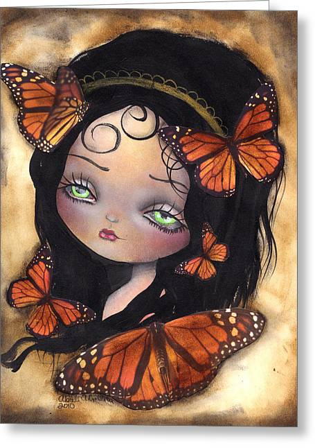 Gothic Surreal Greeting Cards - Monarca Greeting Card by  Abril Andrade Griffith