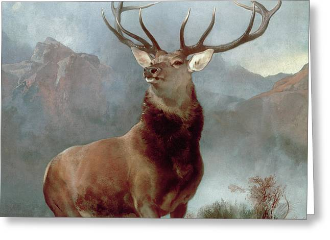 Wild Animals Paintings Greeting Cards - Monarch of the Glen Greeting Card by Sir Edwin Landseer