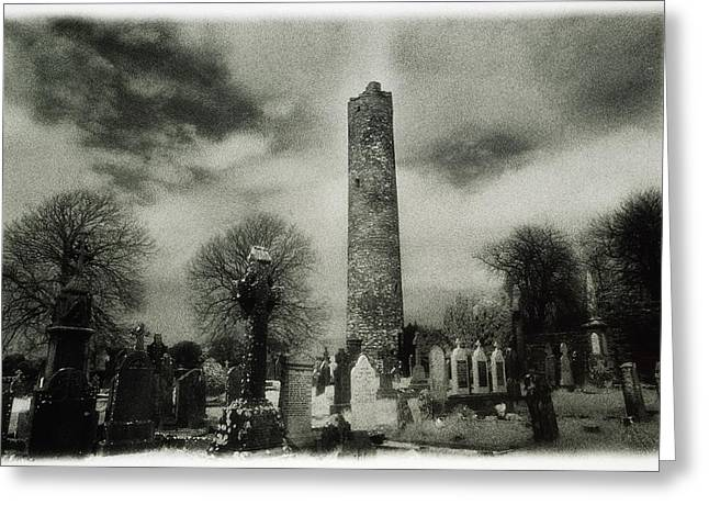 Headstones Greeting Cards - Monasterboice, Co Louth, Ireland Round Greeting Card by Sici