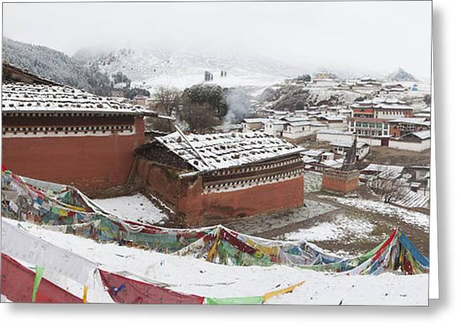 Winter Scenes Rural Scenes Greeting Cards - Monastery In Valley Of Druk-chu At Greeting Card by Phil Borges