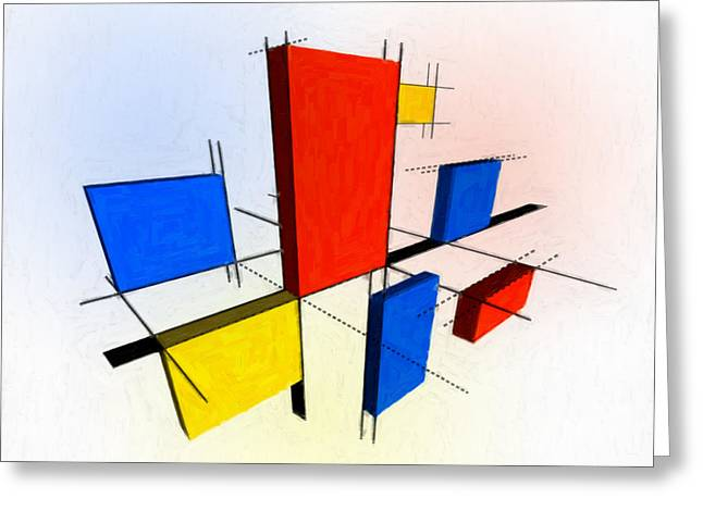 Striped Mixed Media Greeting Cards - Mondrian 3D Greeting Card by Michael Tompsett