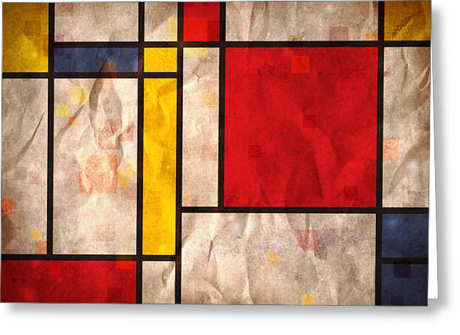 Grunge Greeting Cards - Mondrian Inspired Greeting Card by Michael Tompsett