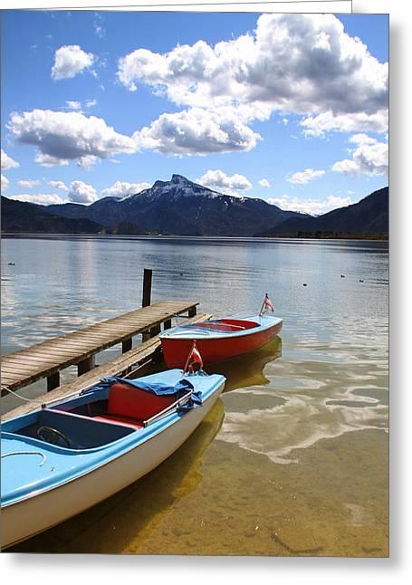 Salzburg Greeting Cards - Mondsee Lake Boats Greeting Card by Lauri Novak