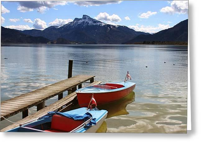 Mondsee Lake Boats Greeting Card by Lauri Novak