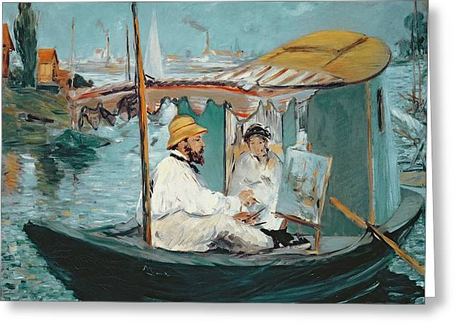 Manet Greeting Cards - Monet in his Floating Studio Greeting Card by Edouard Manet