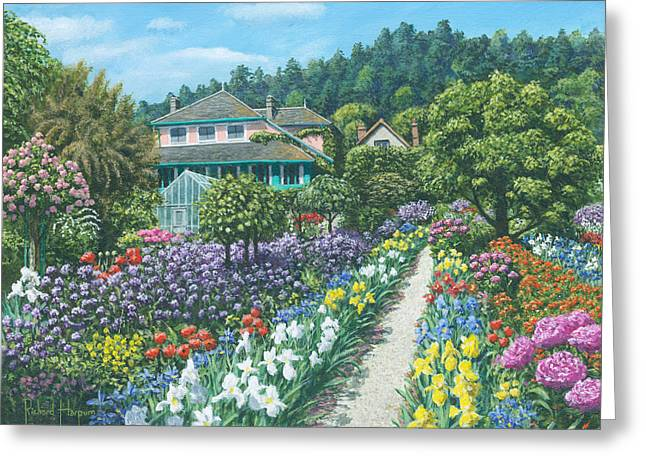 Representational Landscape Greeting Cards - Monets Garden Giverny Greeting Card by Richard Harpum