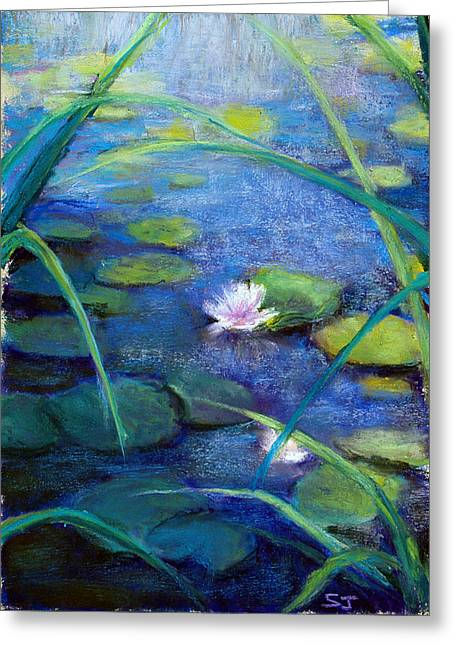 Lilly Pads Pastels Greeting Cards - Monets Garden Greeting Card by Susan Jenkins