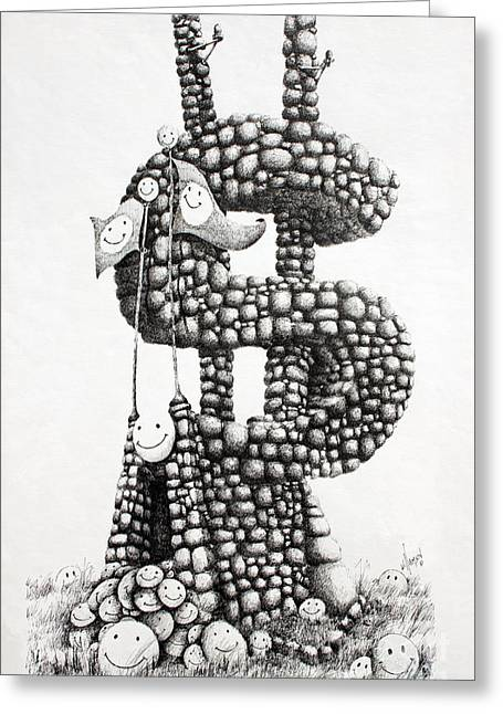 Pen And Ink Framed Prints Greeting Cards - Money Monument Greeting Card by James Williamson