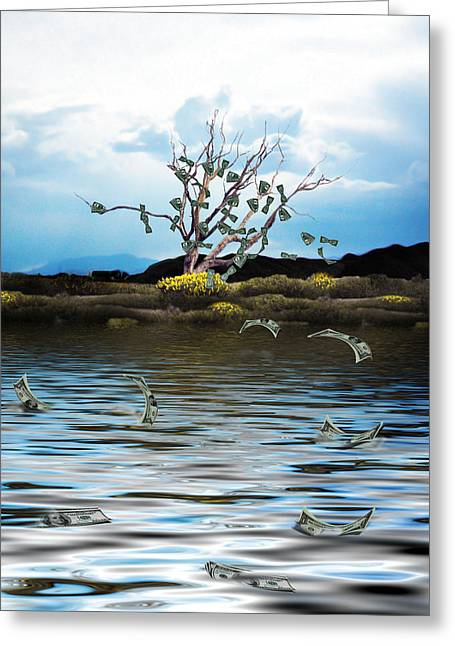 Watery Greeting Cards - Money Tree on a Windy Day Greeting Card by Gravityx Designs