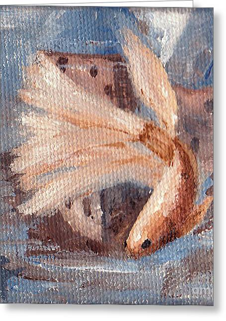 Betta Paintings Greeting Cards - Mongo Betta Fish Greeting Card by Brenda Thour