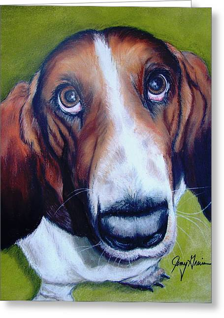 Hound Pastels Greeting Cards - Mongo Greeting Card by Jenny Greiner