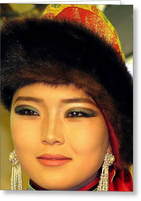 Gold Earrings Greeting Cards - Mongolian Model Greeting Card by Diane Height