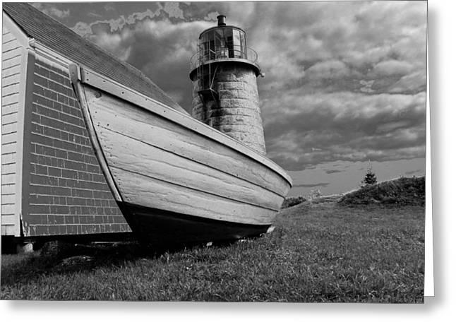 Maine Lighthouses Greeting Cards - Monhegan Island Lighthouse and Dory Greeting Card by Joseph Rennie