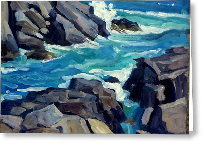 Monhegan Surf Maine Seascape Greeting Card by Thor Wickstrom