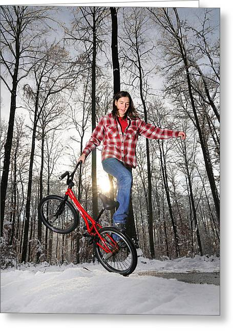 Monika Hinz Bmx Flatland In The Snow Greeting Card by Matthias Hauser