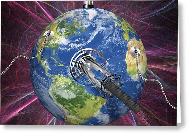 Monitoring Earth, Conceptual Artwork Greeting Card by Laguna Design