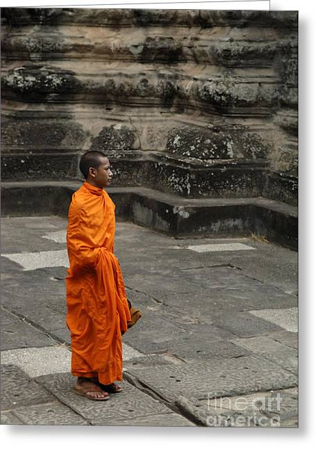 Traveling In Cambodia Greeting Cards - Monk At Ankor Wat Greeting Card by Bob Christopher