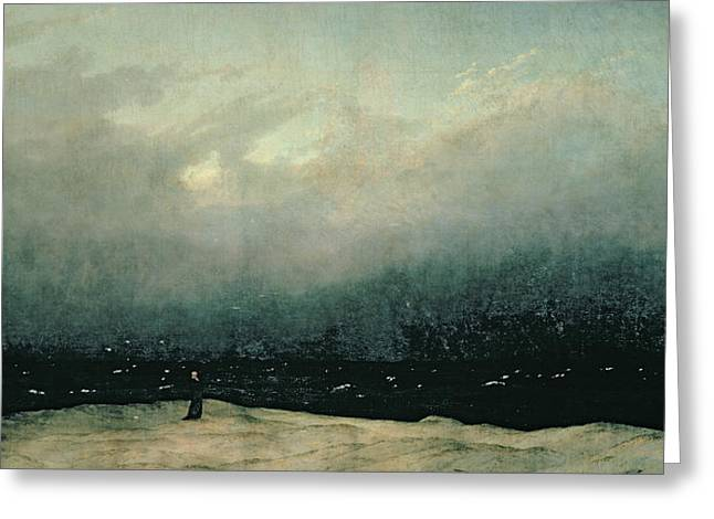 Monks Greeting Cards - Monk by sea Greeting Card by Caspar David Friedrich