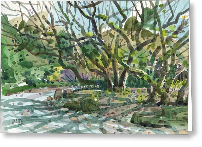 Gardens Pastels Greeting Cards - Monk Trees  Greeting Card by Donald Maier