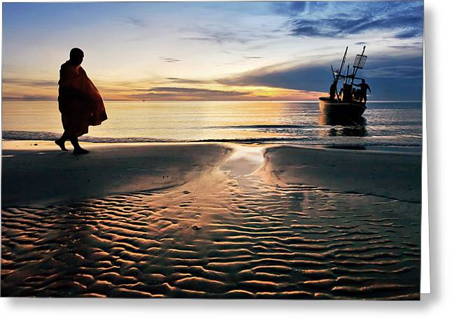 Huahin Greeting Cards - Monk Walk For Food On The Beach Greeting Card by Arthit Somsakul