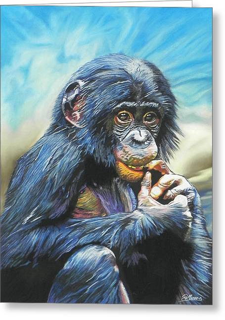 Chimpanzee Pastels Greeting Cards - Monkey Business Greeting Card by Paul Miners