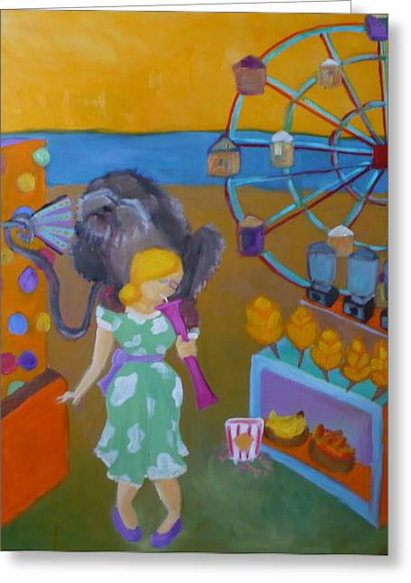 Monkey On My Back Greeting Card by Diana Ogaard