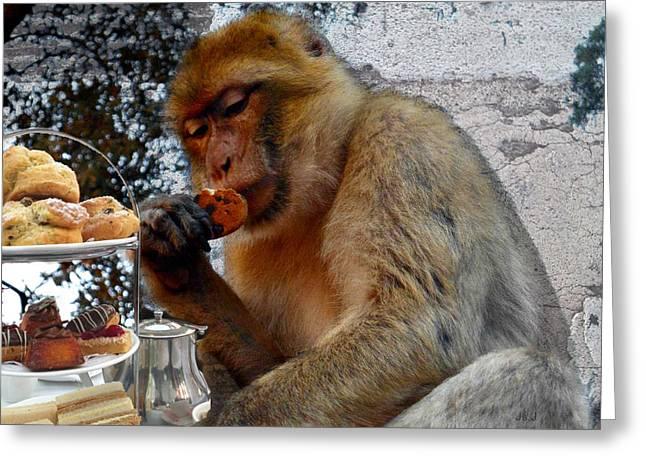 Jan Steadman-jackson Greeting Cards - Monkey Tea Party Greeting Card by Jan Steadman-Jackson