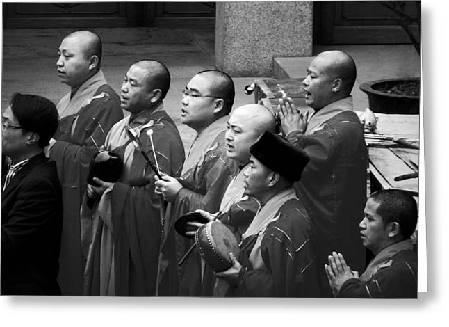 Head Greeting Cards - Monks chanting - Jingan Temple Shanghai Greeting Card by Christine Till