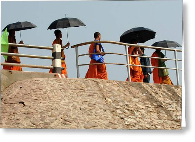Umbrellas Greeting Cards - Monks With Umbrellas Greeting Card by Bob Christopher