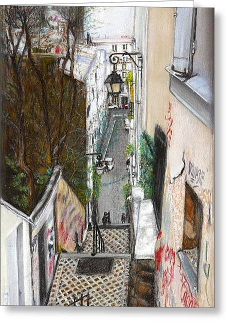 Old Street Pastels Greeting Cards - Monmatre Paris Greeting Card by Leonor Thornton
