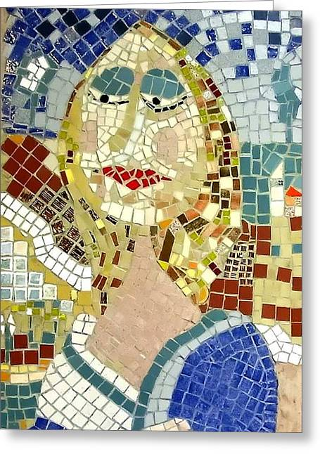Mosaic Reliefs Greeting Cards - MONNA LISA Caricature Greeting Card by Roberto Lacentra
