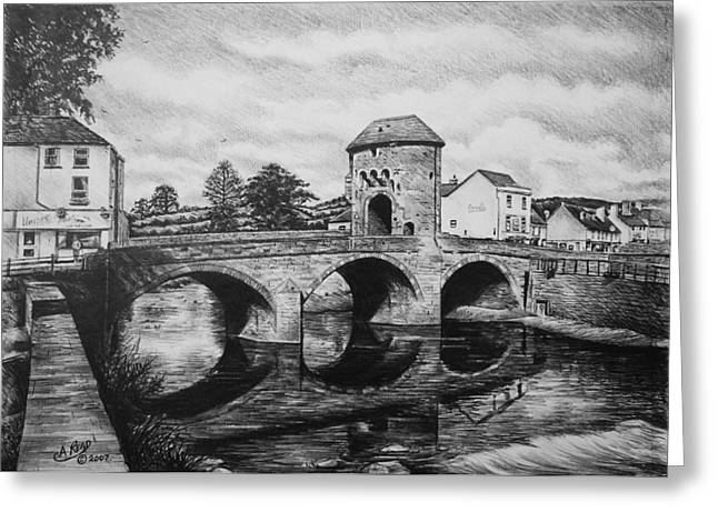 White River Drawings Greeting Cards - Monnow Bridge Greeting Card by Andrew Read